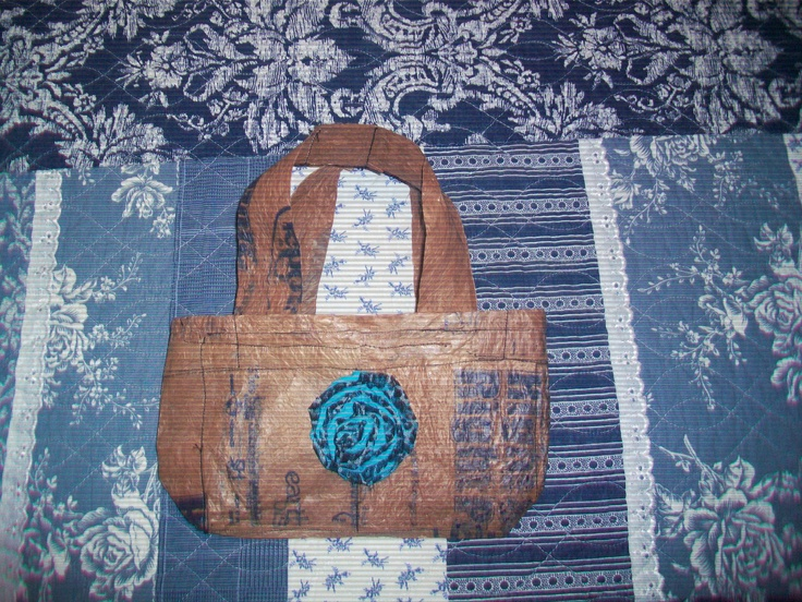 Upcycled handbag my daughter & I made from plastic grocery bags ... =)