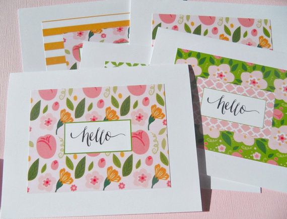 Set of 3 Floral Note cards   Floral Thank You Cards by suziescards