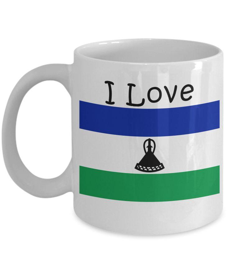 I Love Lesotho Coffee Mug With A Flag