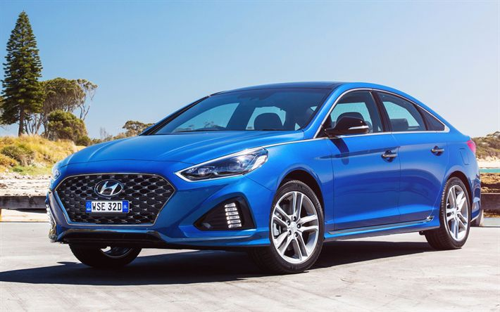 Download wallpapers Hyundai Sonata, 4k, 2018 cars, new Sonata, korean cars, blue Sonata, Hyundai