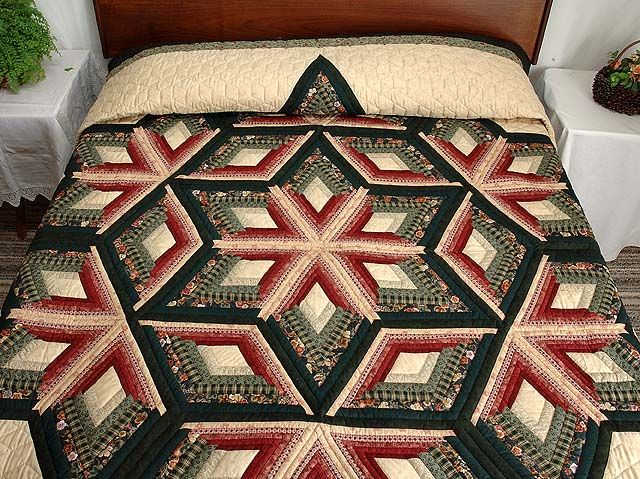 Diamond Star Log Cabin Quilt Exquisite Made With Care Amish Quilts From Lancaster