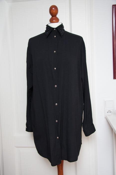 Vintage Bluse 38 40 42 M L Perlenkragen Statement Clean Chic Longbluse Hemd Kleid Schwarz Oversize