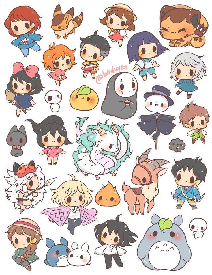 Studio Ghibli Aufkleber Ghibli Kawaii Stickers Studio ちびキャラ イラスト カワイイアート アニメチビ