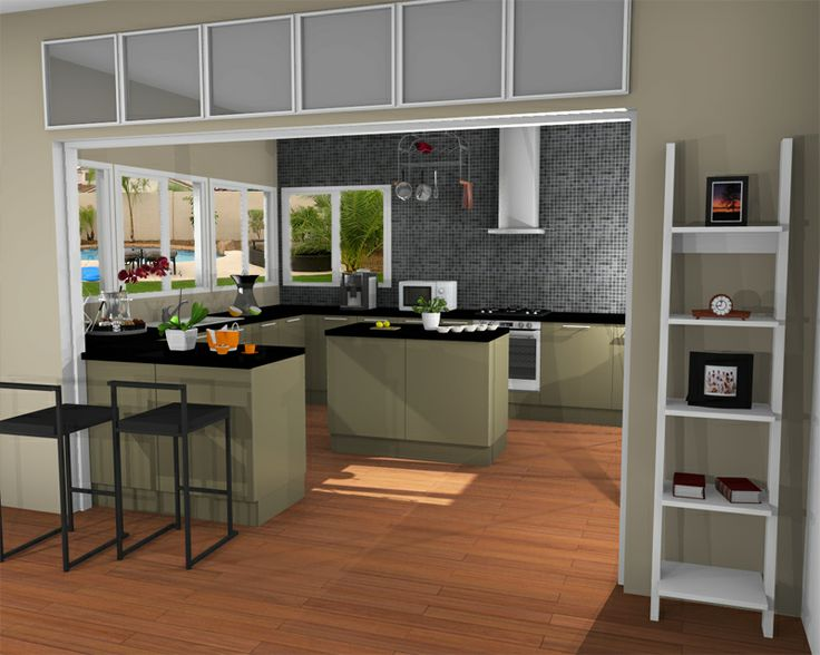 A sun filled kitchen created and rendered in homebyme for Software interior design 3d