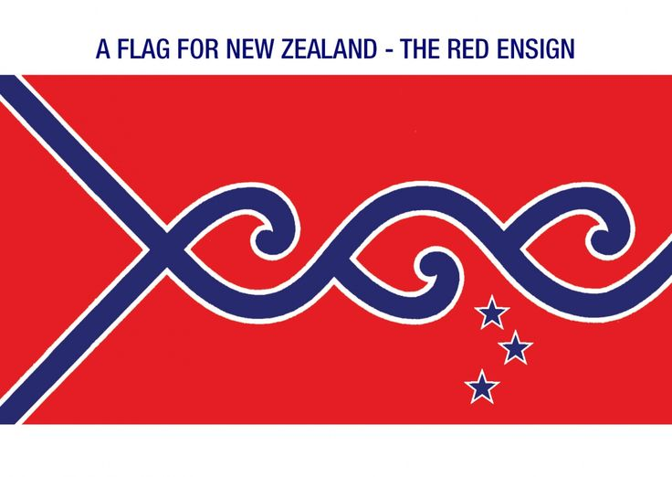 Triple Star - Red Ensign by Michael F. McConnell, tagged with: blue, red, white, koru, Southern Cross, growth, Ocean.