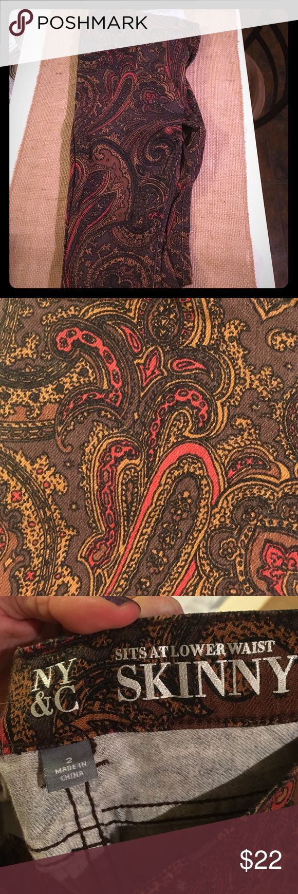Paisley Brown Skinny Jeans Fun paisley patterned skinny jeans! These are so comfortable and only worn twice. Make me an offer! 😊 New York & Company Jeans Skinny