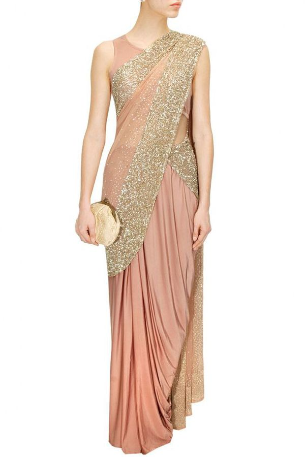 Invest in a champagne gold shimmer saree for your wedding cocktail.