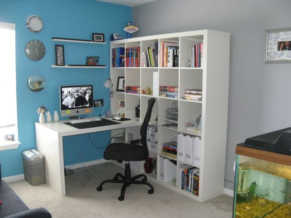 IKEA Expedit Workstation; like the idea of this since her room has limited wall space