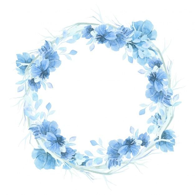 Blue Watercolor Floral Wreath Background Floral Wreath