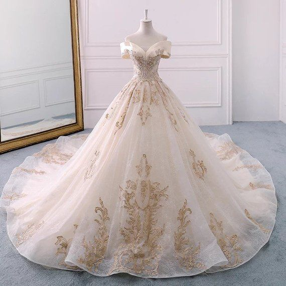 CUSTOM Vintage Bridal Dress | Champange Gold Brand New Bridal Dress In Sweethear…