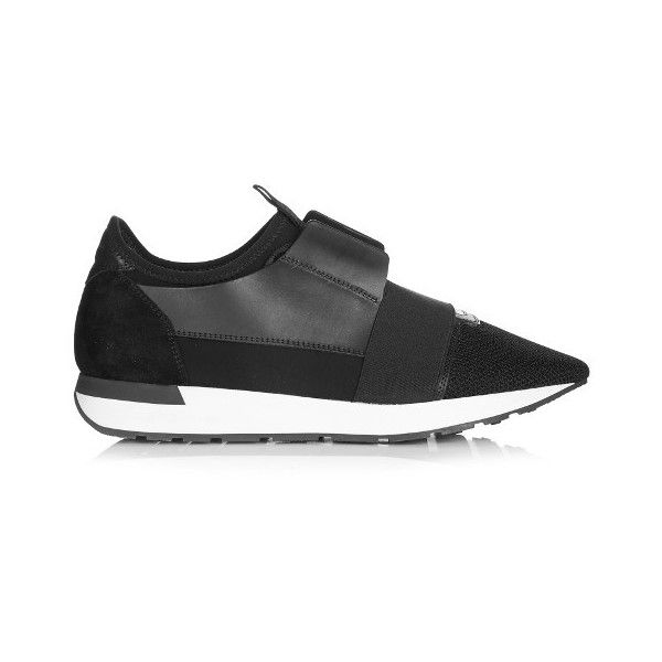 Balenciaga Race Runner multi-panel low-top trainers ($585) ❤ liked on Polyvore featuring men's fashion, men's shoes, men's sneakers, black, shoes, mens low profile shoes, mens black sneakers, balenciaga mens shoes, mens low profile sneakers and balenciaga mens sneakers