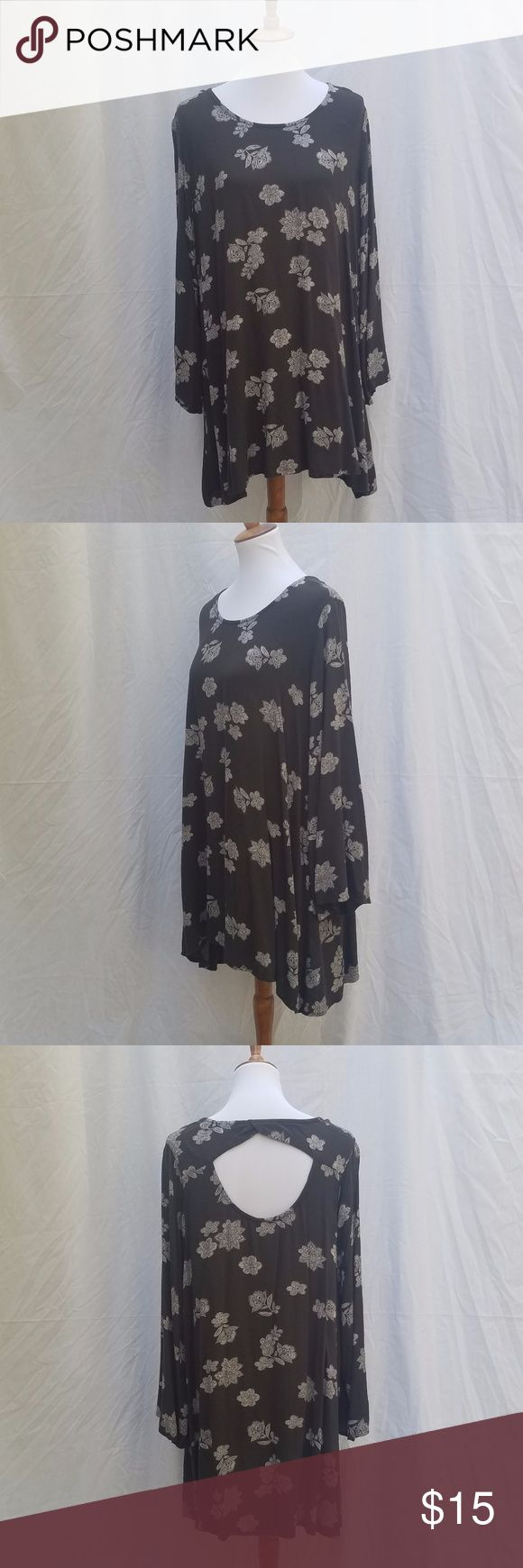Mossimo Supply Co. floral print bell sleeve dress Mossimo Supply Co. floral print bell sleeve dress, dark gray flowy dress with white floral print with back cut-out.  Size XL.  122-D Mossimo Supply Co. Dresses Long Sleeve