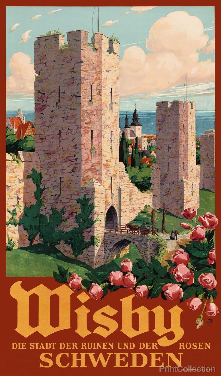 Wisby Der Stadt der Ruinen und der Rosen Schweden color lithograph poster…