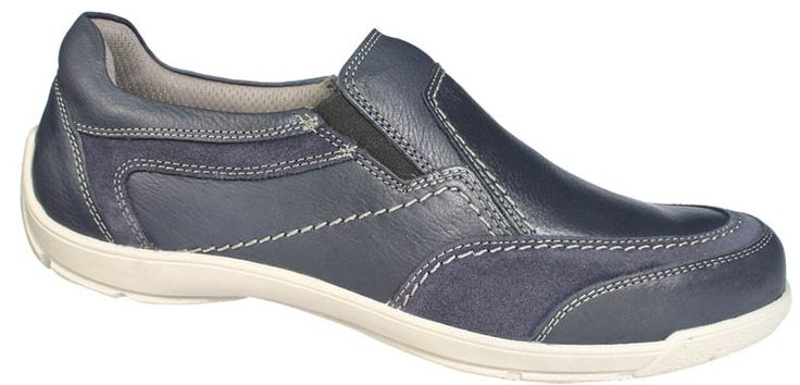 Men slipper shoes in blue. Leather moccasins with contoured tread internally, elastic band for a comfortable fit and elastic outsole. Sporty looks and comfort in large sizes from Jomos. http://www.bigshoes.gr/mens-shoes/moccasins/313301-258-860.html