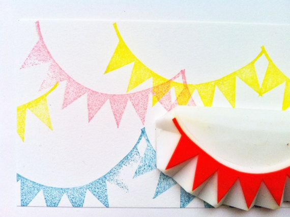 party banner hand carved rubber stamp. handmade rubber stamp. party. READY TO SHIP