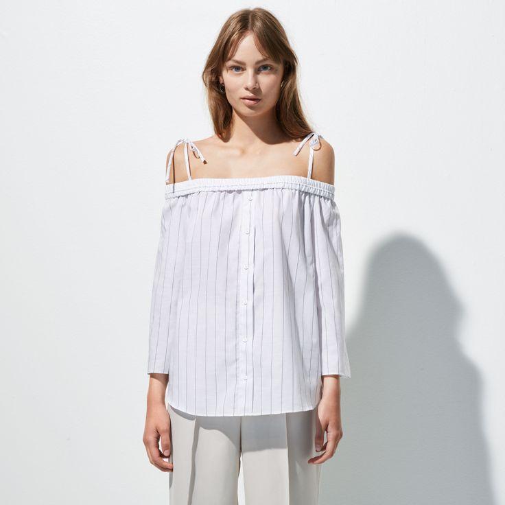 FWSS Corner is a cotton off-the-shoulder shirt with stretch shoulders and adjustable tie-up shoulder straps.