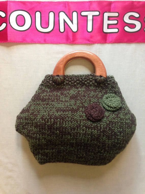 Hand Knitted woolen bag by Funky Knits autumn colours solid