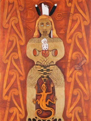"Hine-nui-i-te-po (Ancestress of the Night) by June Northcroft Grant:  Hine-nui-te-pō (""Great woman of night"") is a goddess of night and death and the ruler of the underworld in Māori mythology. She is a daughter of Tāne. She fled to the underworld because .... The red colour of sunset comes from her. Finish the myth - And that is why today red is the colour of the sunset."