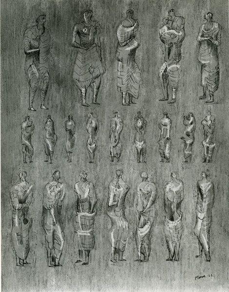 Henry Moore, Figure Drawing from Sketchbook, 1942 on ArtStack #henry-moore #art