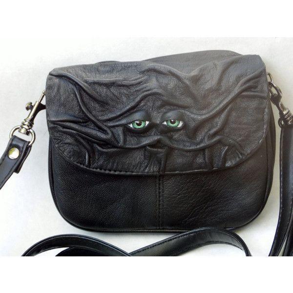 Black Leather Messenger Bag Purse Handbag Witch Wiccan Pagan Goth LARP ($20) ❤ liked on Polyvore featuring bags, goth messenger bag, real leather bags, genuine leather bag, gothic messenger bag and leather messenger bag
