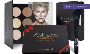 Groupon - Aesthetica Cosmetics Contouring Kit or Gift Set with Angled Contour Brush from $ 19.99-$24.99  in [missing {{location}} value]. Groupon deal price: $19.99