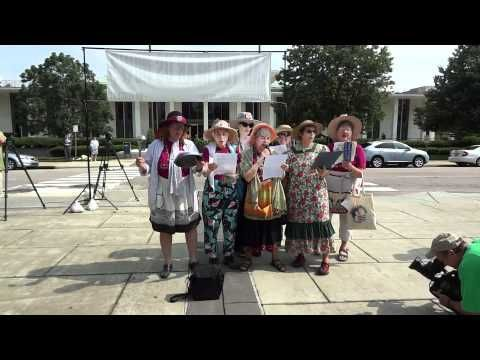 "Raging grannies sing to ""welcome"" the NC legislature to let the know that they are being watched."