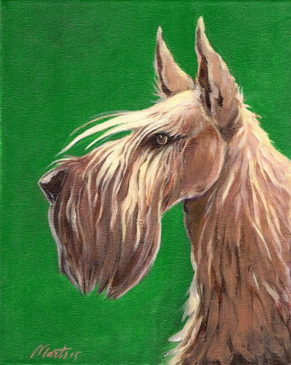 Wheaten scottish terrier - original acrylic painting on canvas