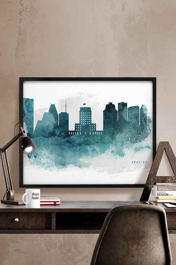 Houston skyline Houston print Texas watercolor by iPrintPoster