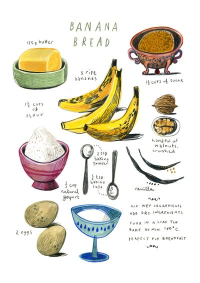 Felicita Sala illustrated recipes: banana bread