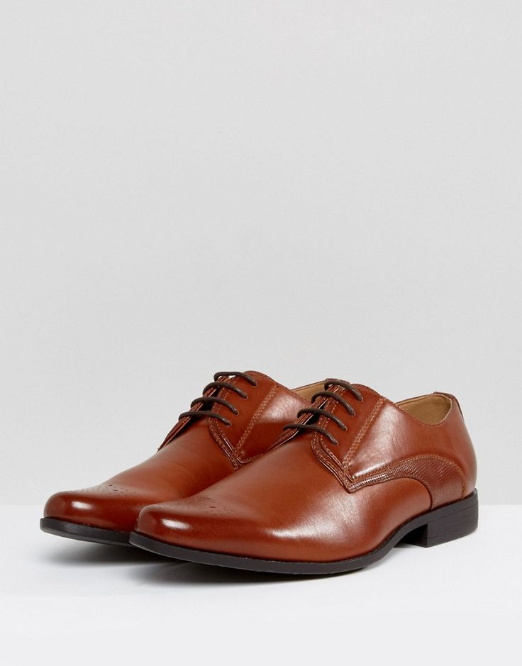 ASOS Derby Brogue Shoes In Tan Faux Leather With Embossed Panel - Tan