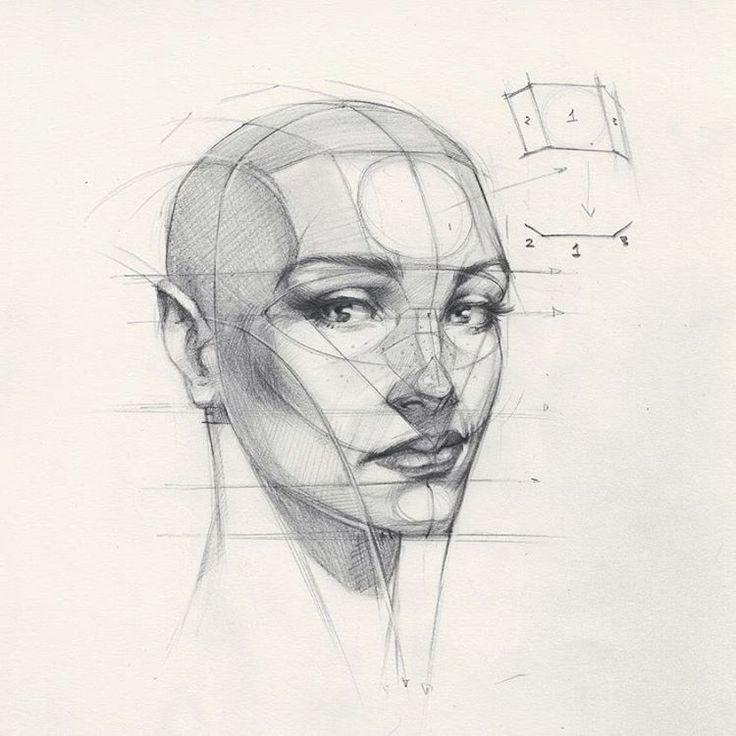 "33.4 mil curtidas, 140 comentários - FERHAT EDİZKAN (@edizkan) no Instagram: ""Reilly Head Abstraction method, portrait from imagination  #imagination  #illustration #drawing…"""