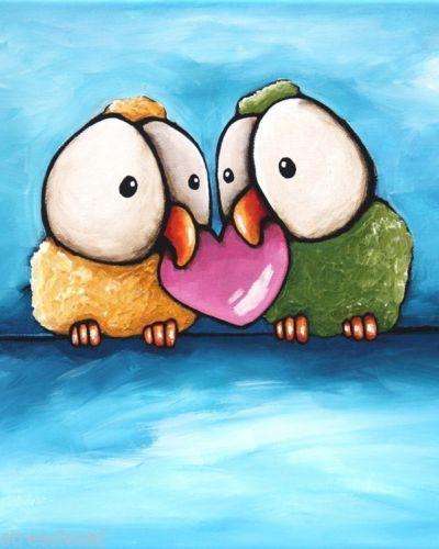 ACEO-Print-Acrylic-Folk-Art-animal-illustration-love-birds-heart-Valentines-day #lovebirds