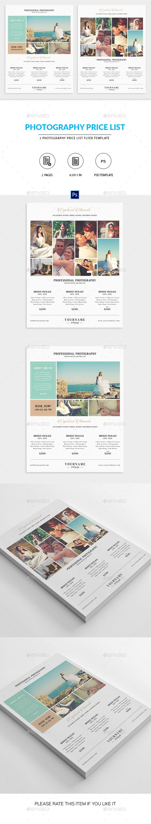 Minimal Photography Price List Marketing Flyer  #photoshop elements #price list…