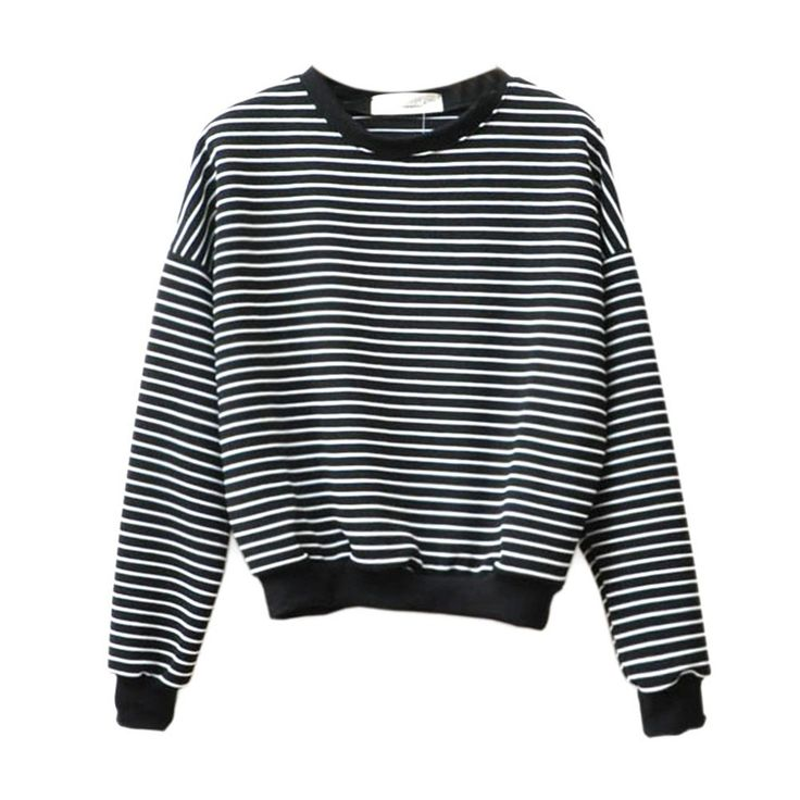 Cheap hoodie vest, Buy Quality top man hoodies directly from China hoodie logo Suppliers: Europe and America simple loose women tops short section black and white striped sweatshirt women hoodies long-sleeved o