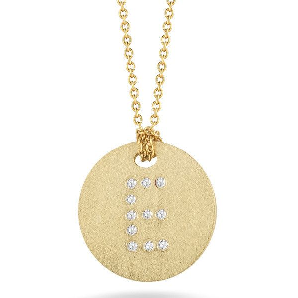 Roberto Coin Tiny Treasures Yellow Gold Diamond Initial E Medallion... ($620) ❤ liked on Polyvore featuring jewelry, necklaces, gold chain necklace, letter pendant necklace, diamond pendant necklace, initial necklace and initial pendant necklaces