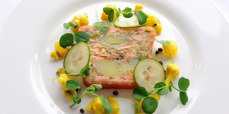 This spectacular smoked salmon terrine recipe is made with leeks and confit potato for remarkable flavour. Josh Eggleton's salmon terrine is...