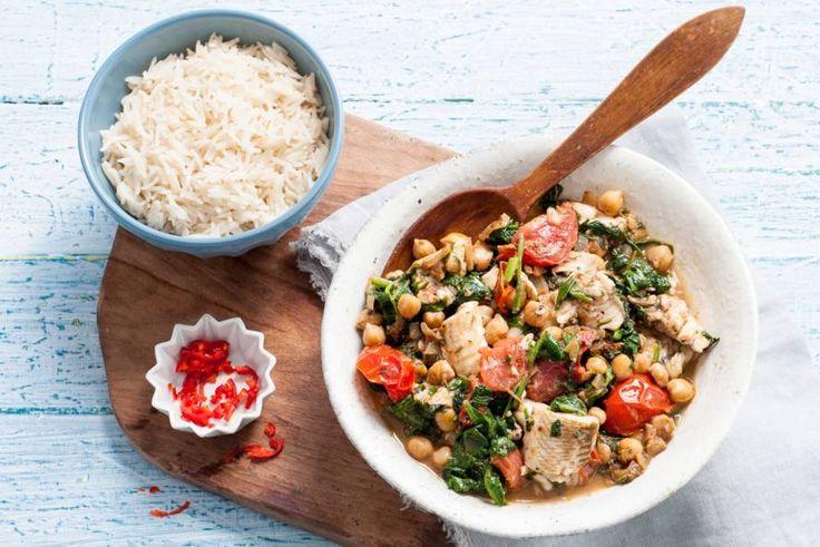 Viscurry met spinazie en kikkererwten - Allerhande