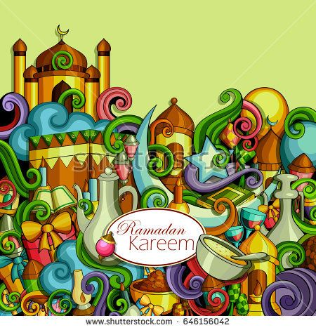 vector illustration of Ramadan Kareem ( Blessing for Eid) background with Islamic mosque