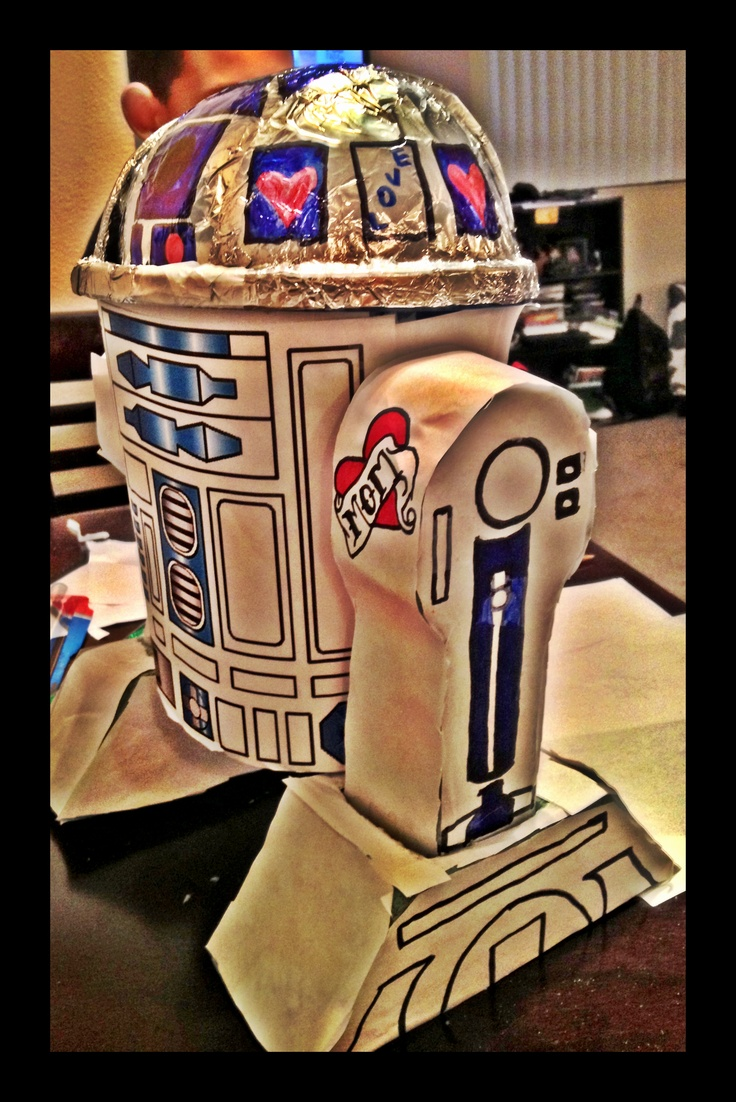 we made an r2d2 valentines day box out of dollar tree