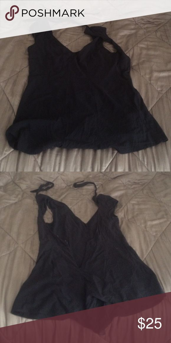 Express Black romper Open back with tie around neck. Zipper in back. Super cute and Sexy ! Size 4 Express Other