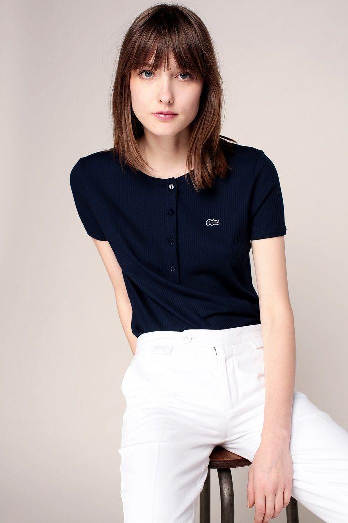 Lacoste T-shirt côtelé marine patch logo brodé pas cher prix T-Shirt Femme Monshowroom 55.00 €
