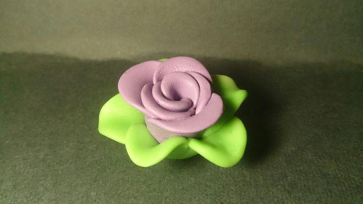 Polymer clay purple rose charm