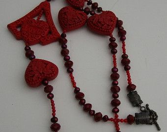 CHINESE CINNABAR HEARTS, Red Pearl, Red Crystal & Onyx Necklace*Valentine's Delight!