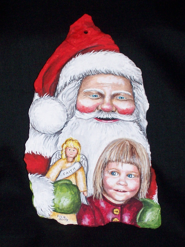 Santa claus ornament with angels handpainted for a friend