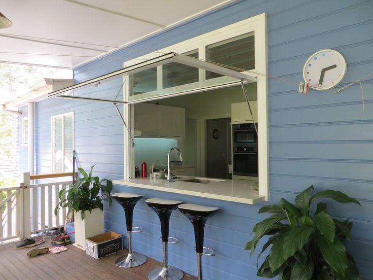 Gas strut awning window with louvre highlight. Let in the fresh air and natural light! Expand your entertainment area by connecting your kitchen and patio with a secure, gas strut lifted window to create a spacious servery/bar area. A cost…
