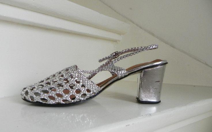 Vintage zilveren slingback pumps silver glamour shoes (2001)