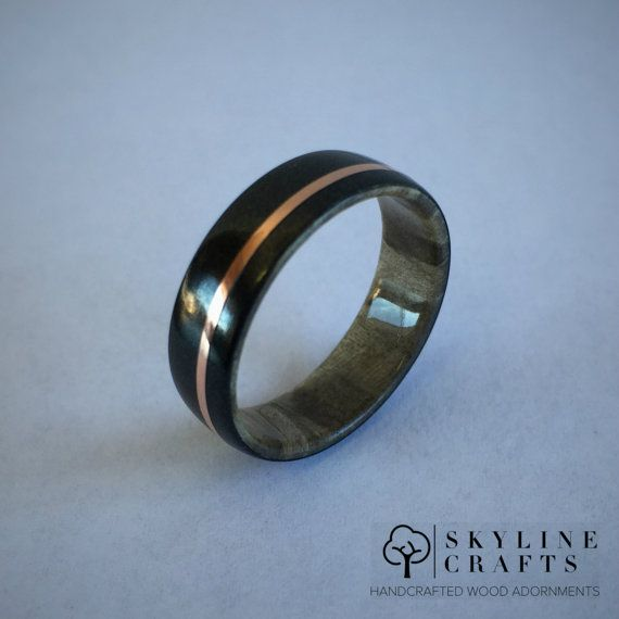 Black Titanium Composite Ring with Maple Core. by SkylineCrafts