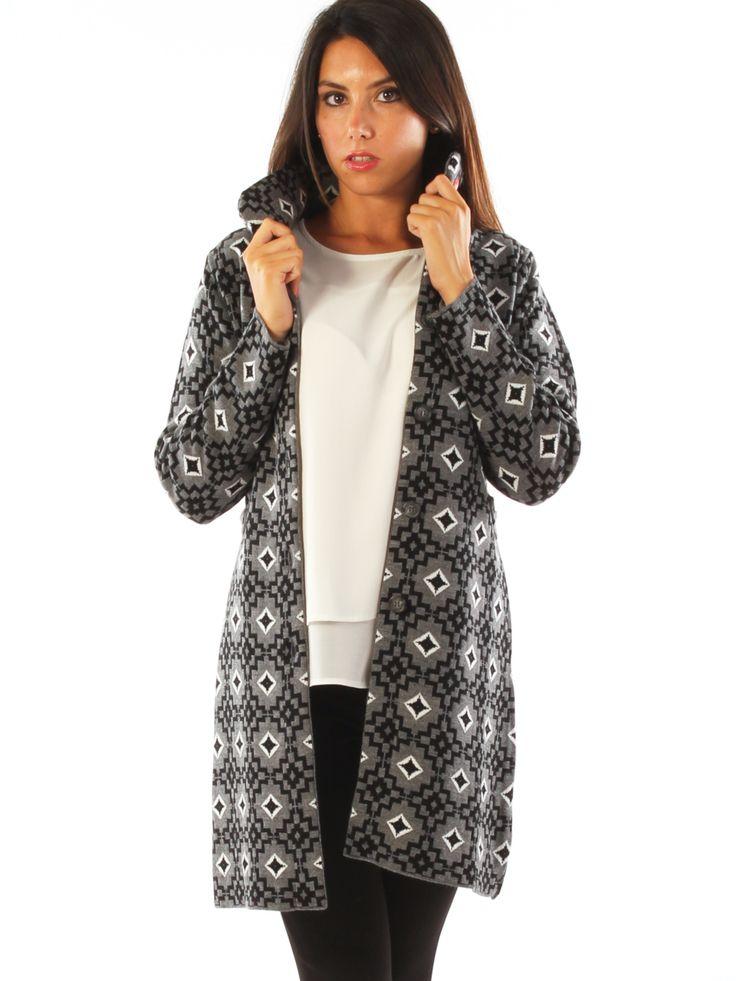 Geometric patterned wool blend casual long jacket.  http://www.luanaromizi.com/en/home/geometric-patterned-wool-blend-casual-long-jacket.html #geometric #patterned #woolblend #casual #longjacket #madeinitaly #freesketch #luanaromizi #fallwinter