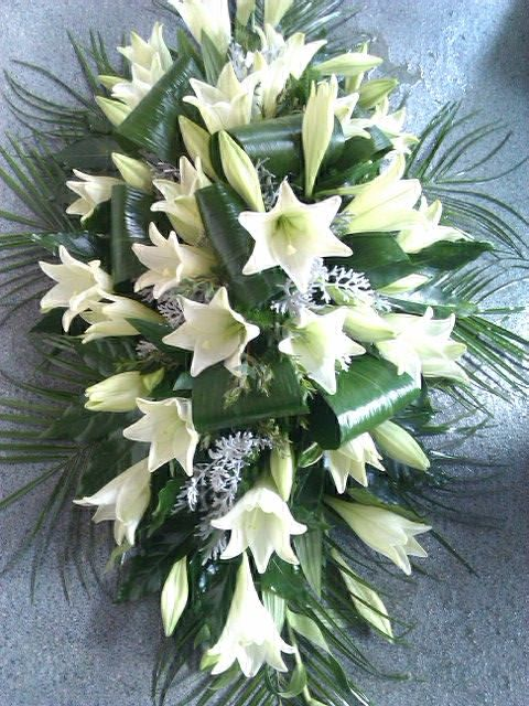 double ended casket spray- classic Lily design.
