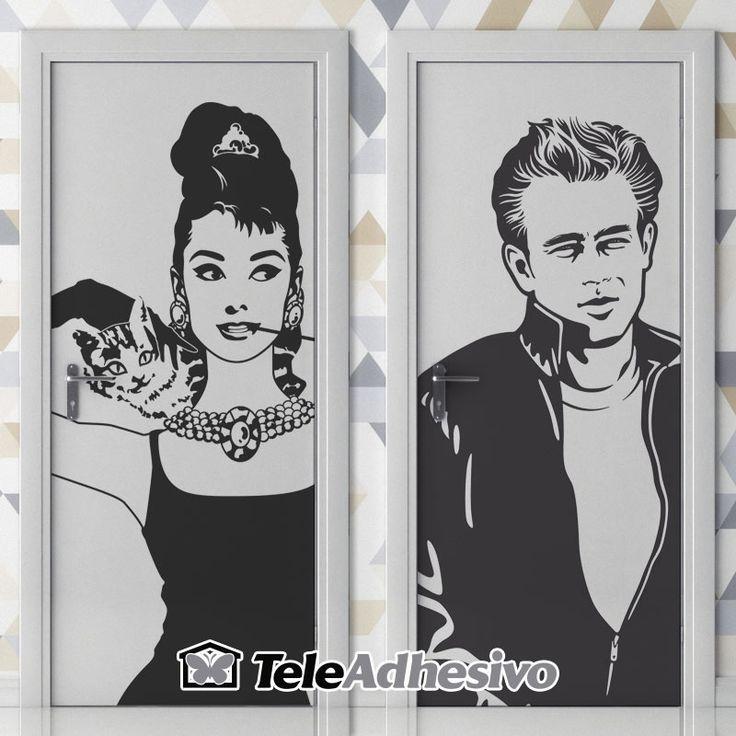 Señal de baño de Audrey Hepburn y James Dean #wc #decoracion #vinilo #puerta #TeleAdhesivo